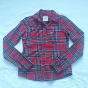 Hollister Plaid Flannel Button Down Top S